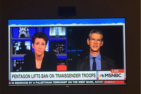 Aaron Belkin on television with Rachel Maddow